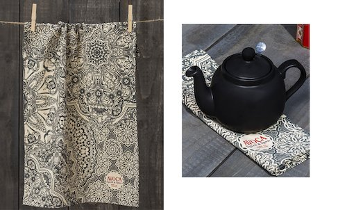 Grey Tile Print Tea Towel