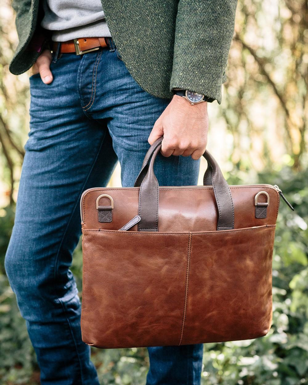Saddler Leather Laptop Bag in Brown