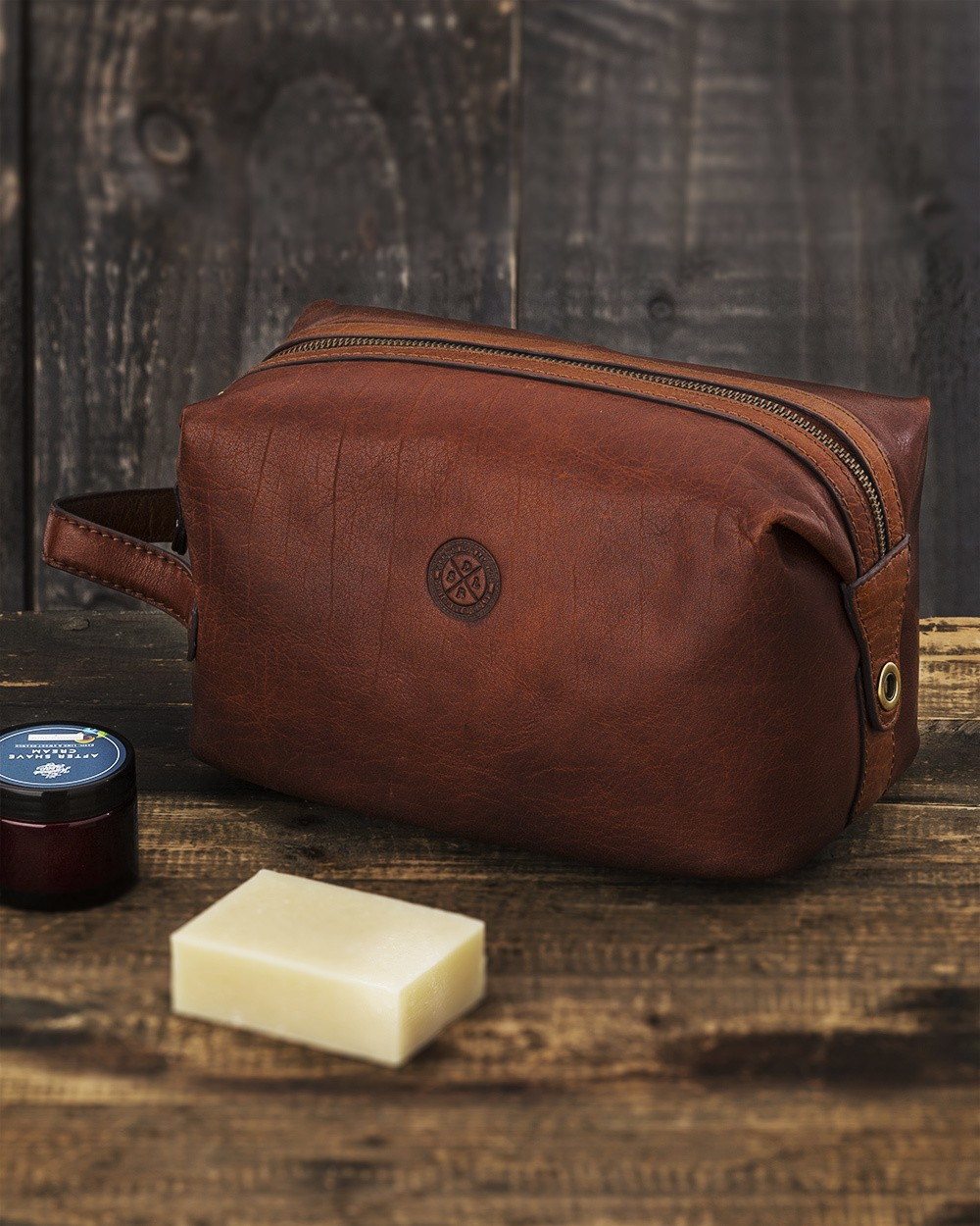 Saddler Brown Leather Toiletry Bag