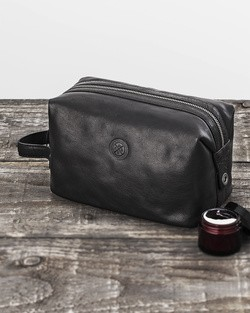 Saddler Black Leather Toiletry Bag