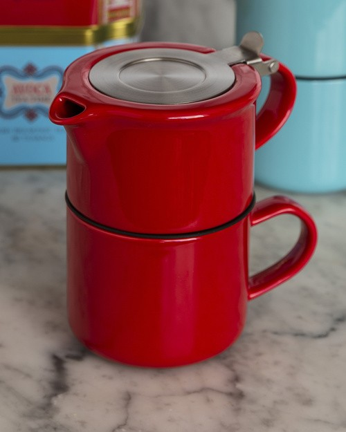Tea for One - Pot and Cup in Red