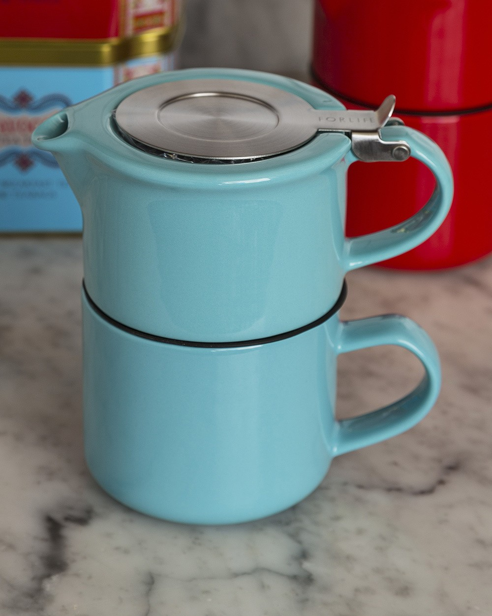 Tea for One - Pot and Cup in Turquoise