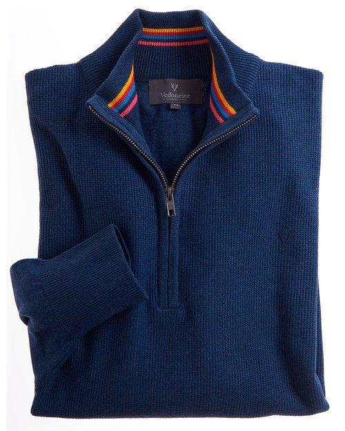 Textured Cotton Half-Zip Jumper