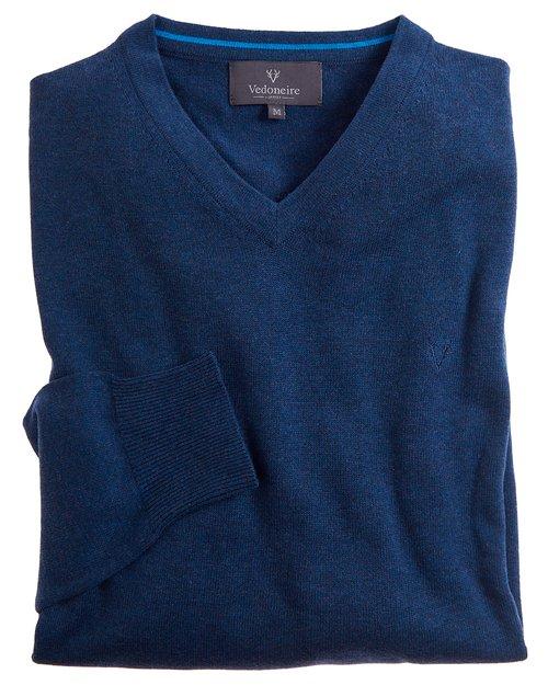 Fine Gauge Cotton V-neck Jumper
