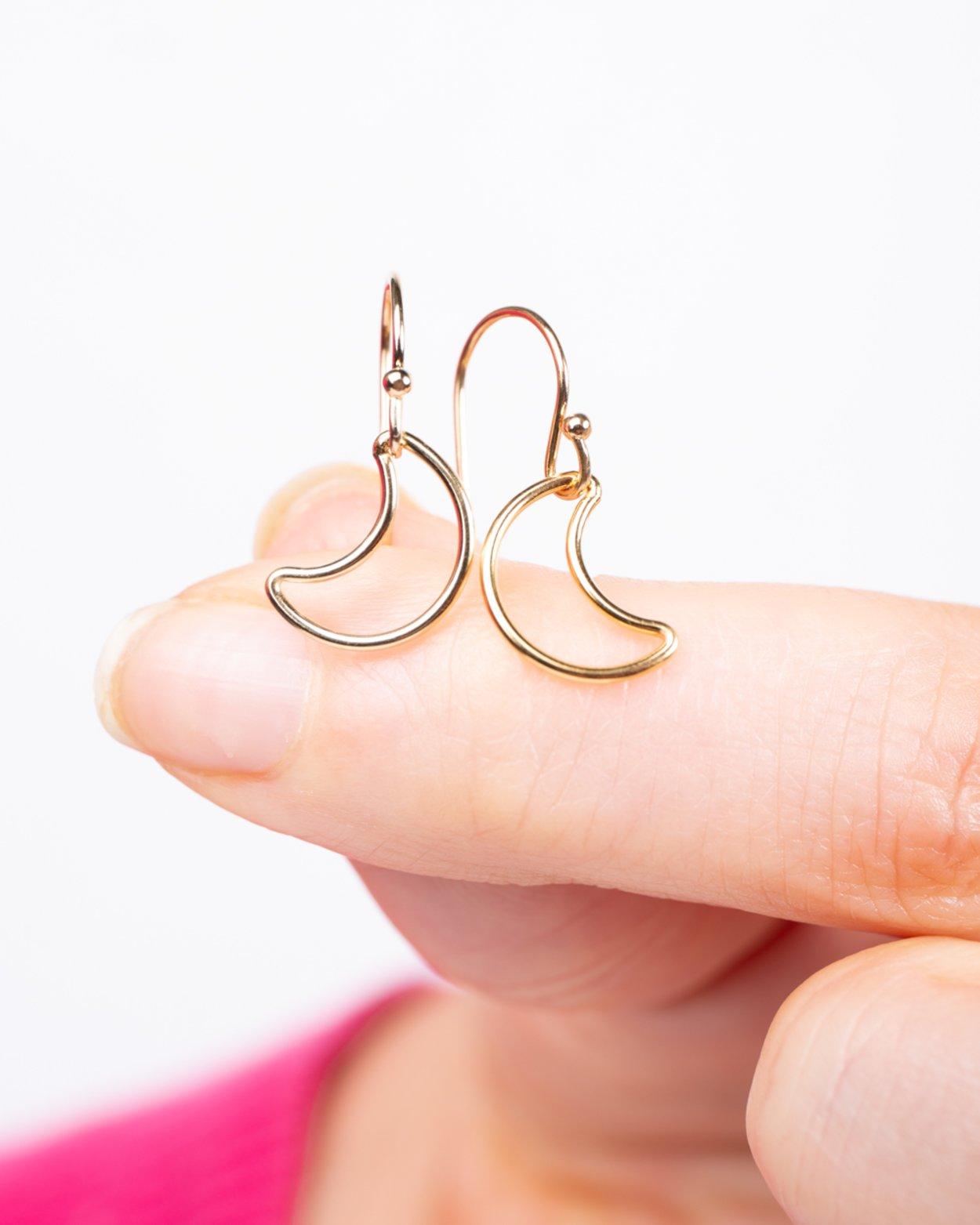 14kt Gold Filled Moon Charm Earrings