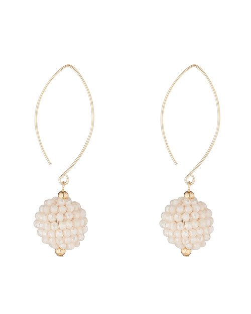 14kt Gold Filled Cream Cluster Charm Earrings