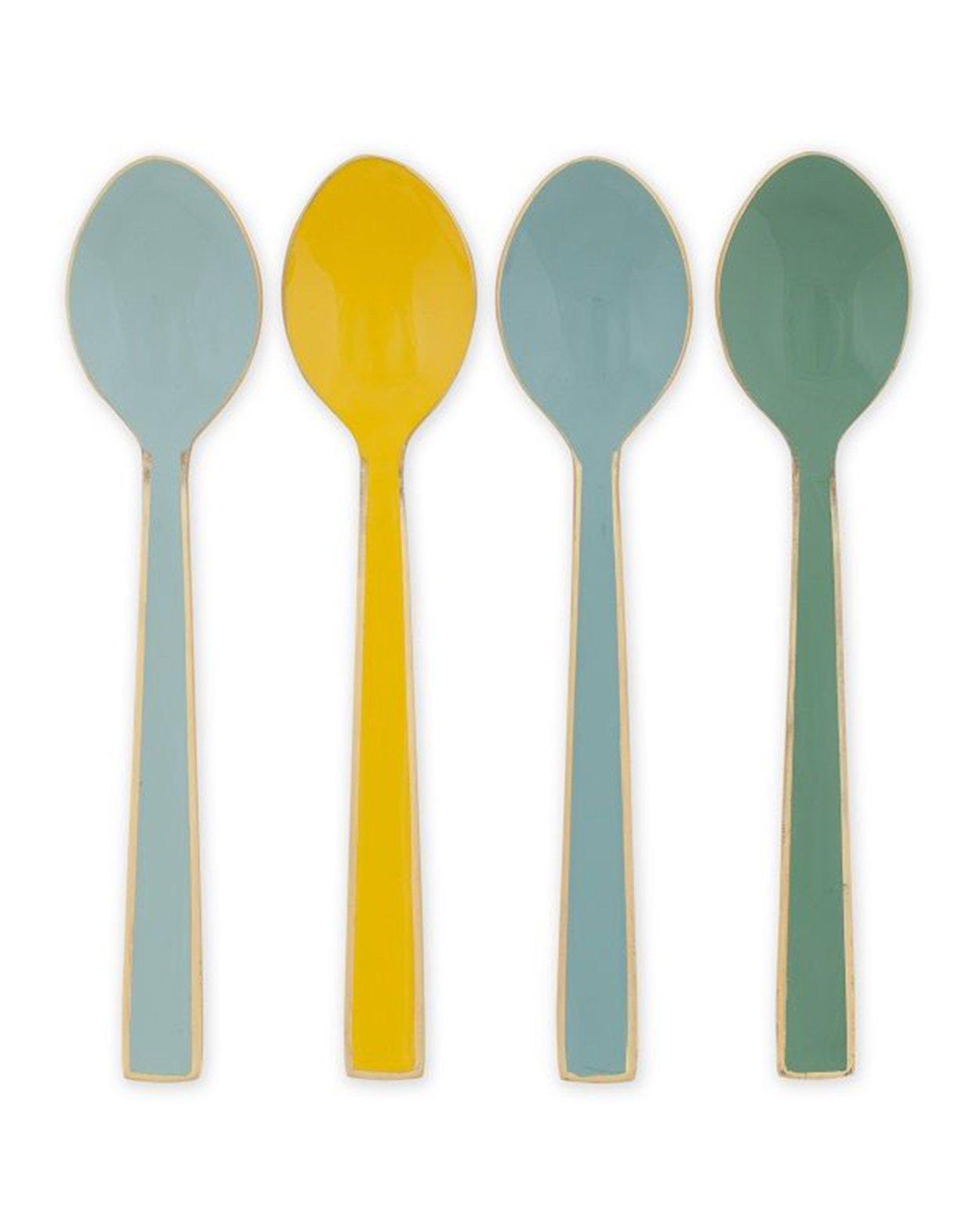 Blushing Birds Enamel Spoons - Four Piece Set