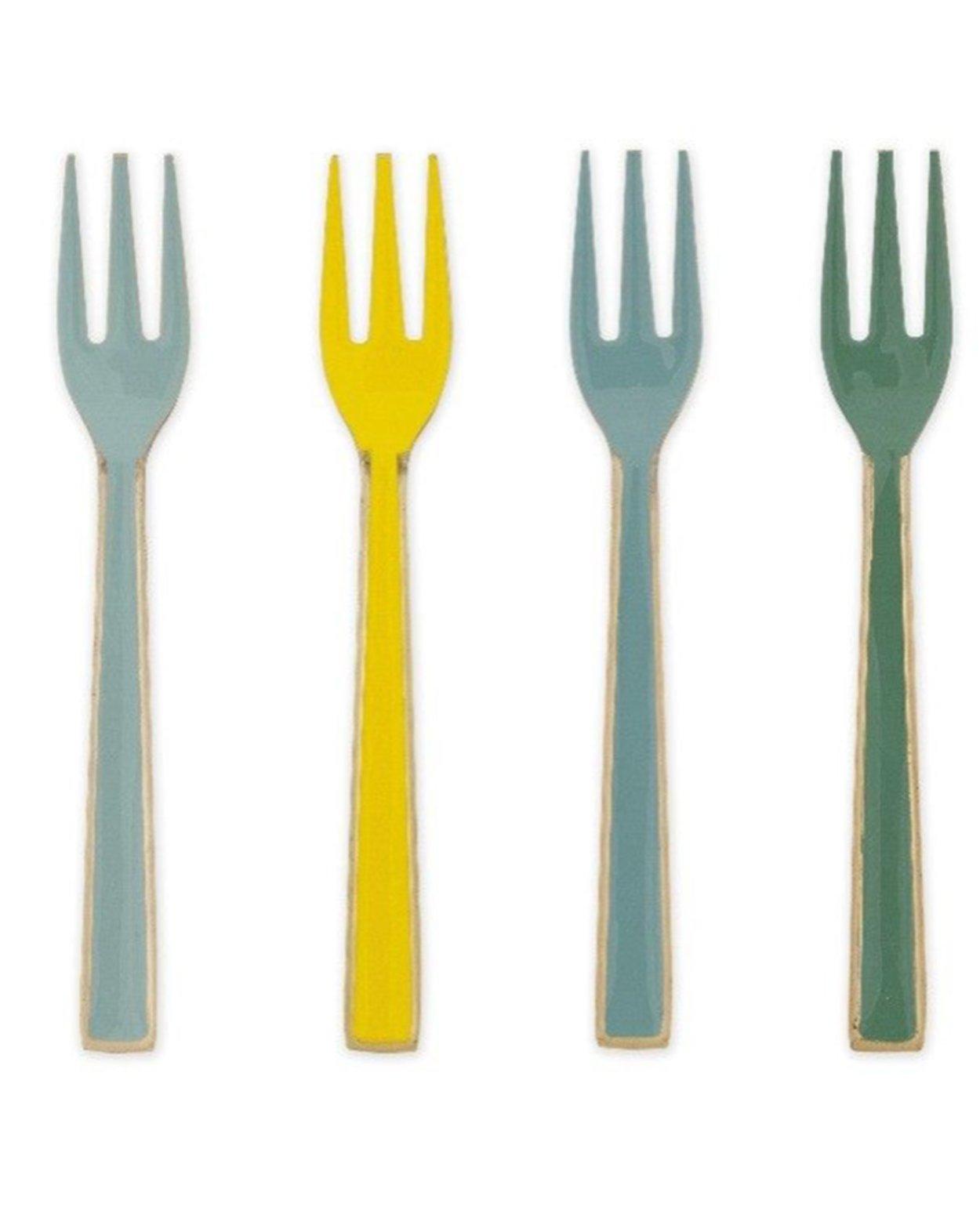 Blushing Birds Enamel Cake Forks - Four Piece Set