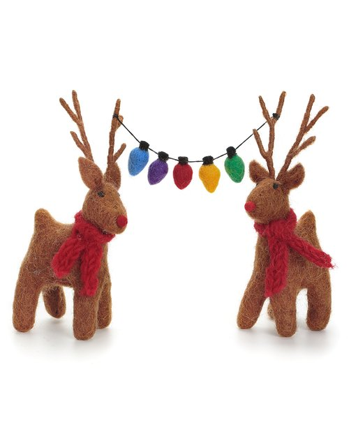 Reindeer Pair with Fairy Lights