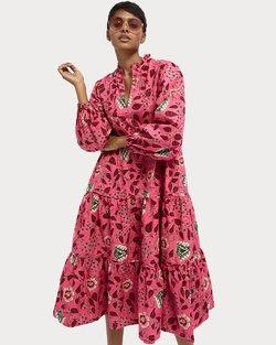 Voluminous Floral Print Midi Dress