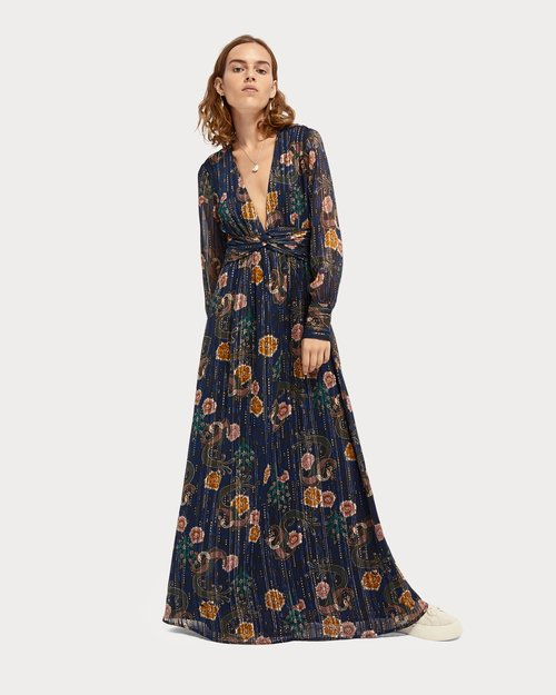 Metallic Print Maxi Dress