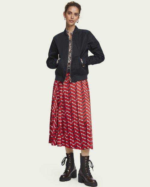 Printed Plisse Midi Skirt
