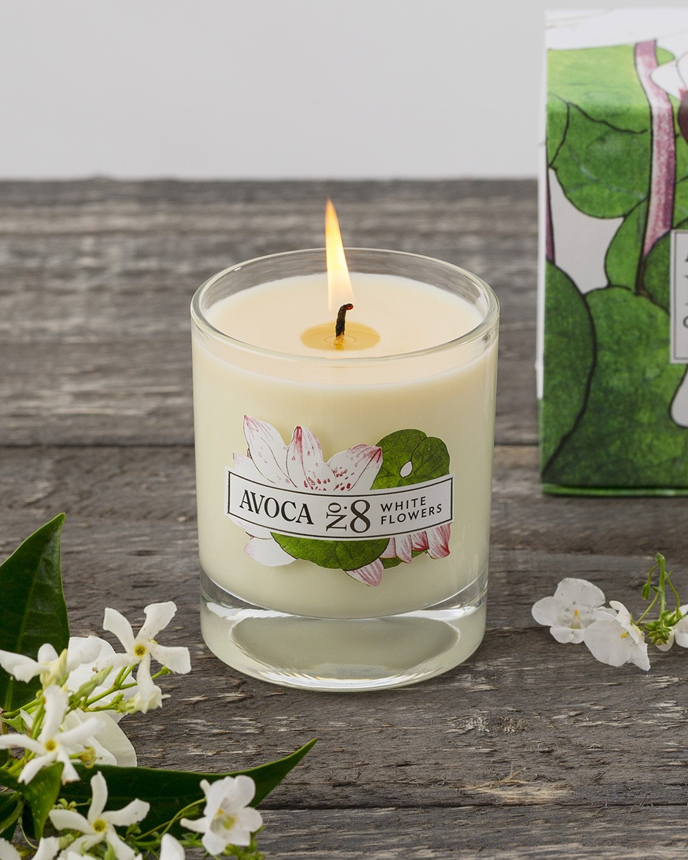 White Flowers Scented Candle Home Food Avoca