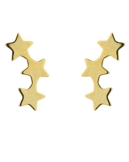 9kt Gold Three Star Stud Earrings