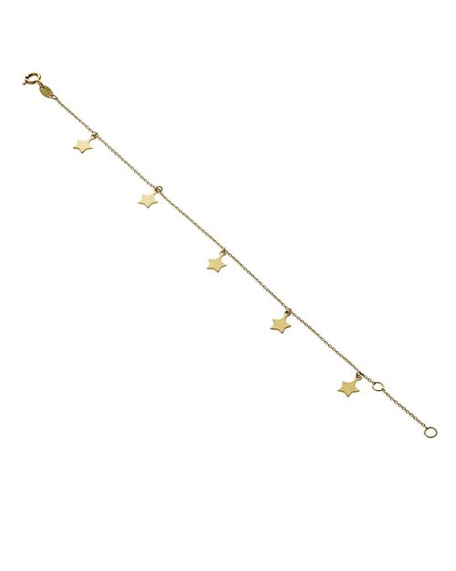 9kt Gold Five Star Bracelet