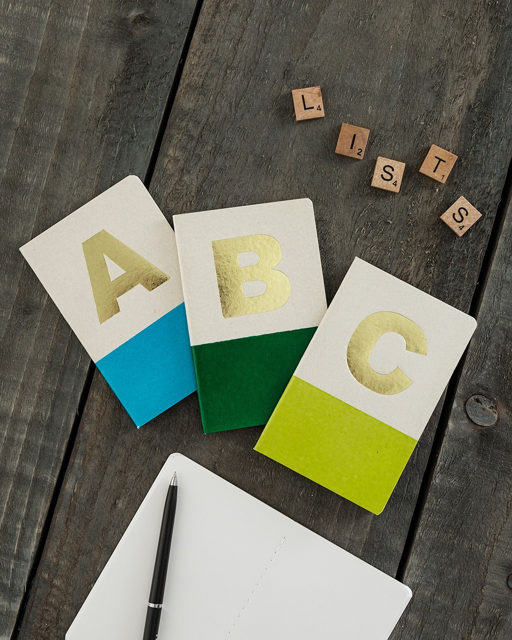Alphabet Notebook with Gold Foil Lettering