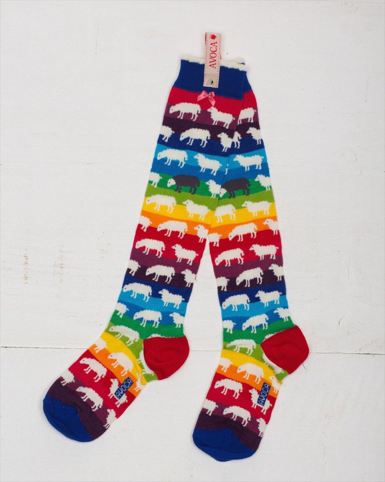Rainbow Sheep Knee Sock