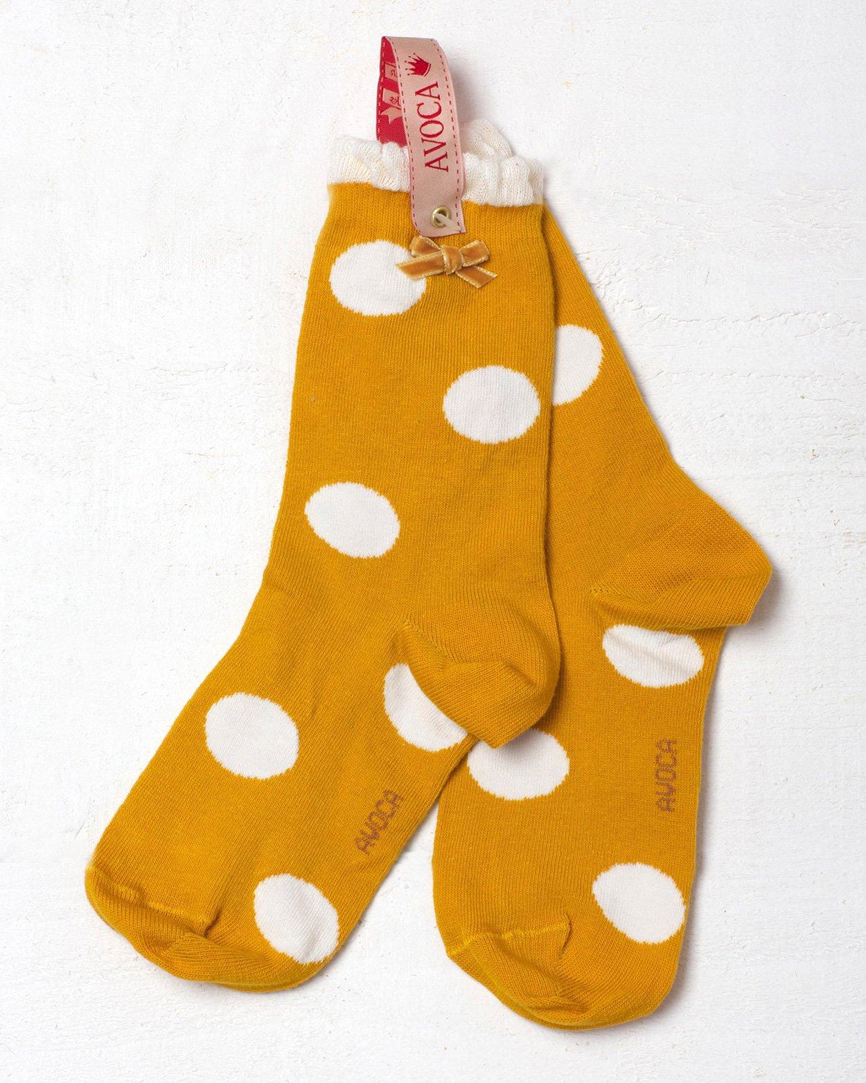 Mustard Polka Dot Ankle Sock