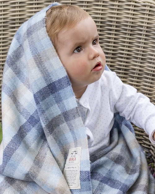 Cashmere Blend Baby Blanket in Blue