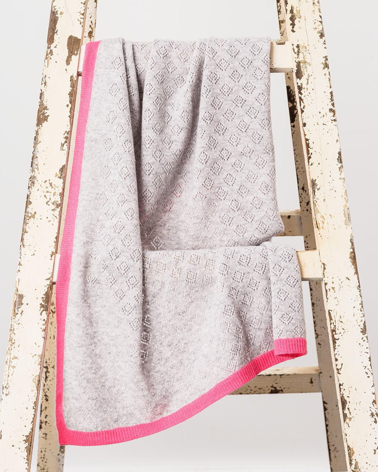 Cashmere Blend Baby Blanket with Pink Trim