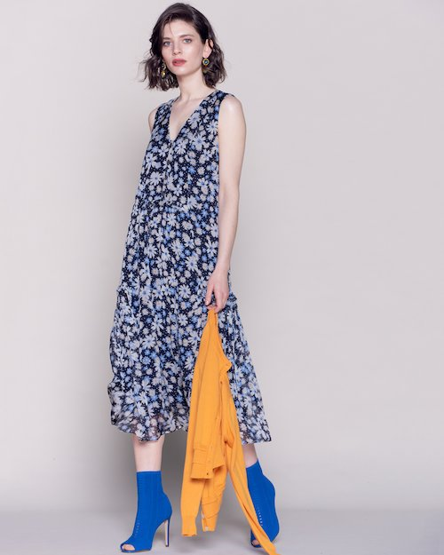Blue Silk Floral Dress