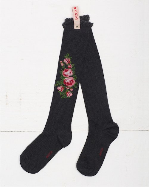 Thermal Flower Knee Socks