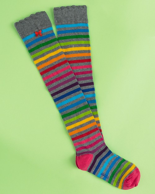 Rainbow Stripe Knee Socks