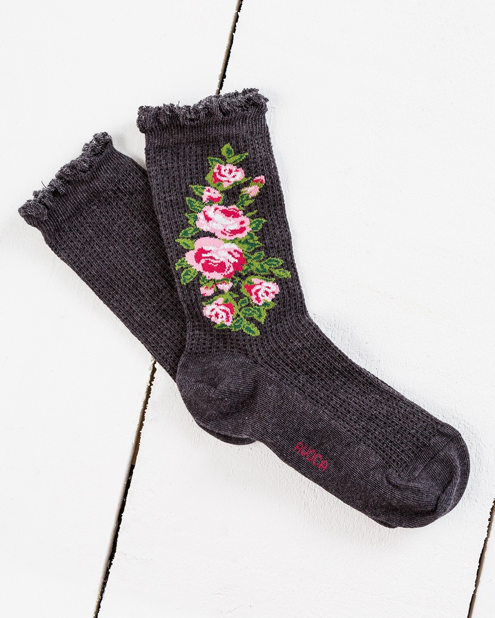 Thermal Ankle Socks with Rose Design
