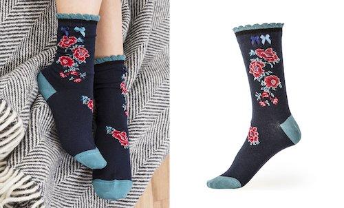 Peony Ankle Socks in Teal