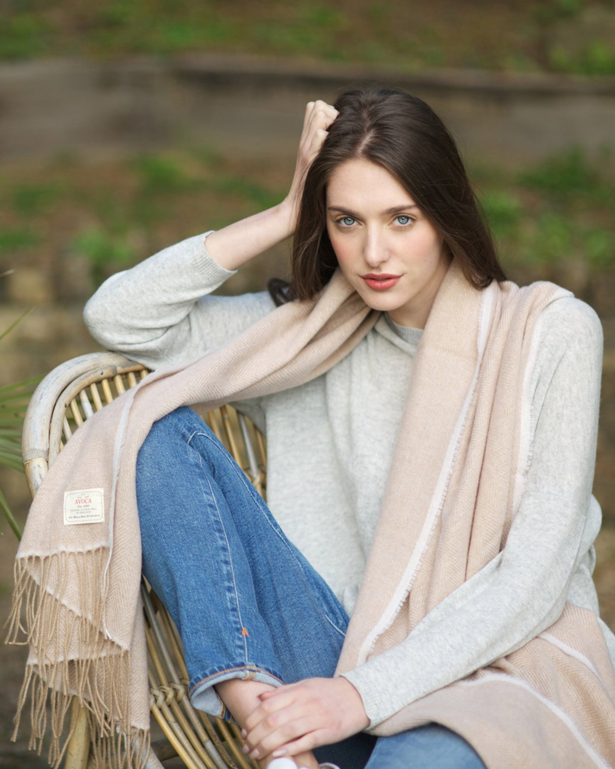 Cashmere Wool Sandymount Scarf in Camel