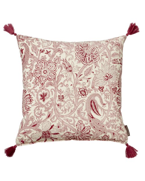 Peacock Rose Cotton Cushion Cover