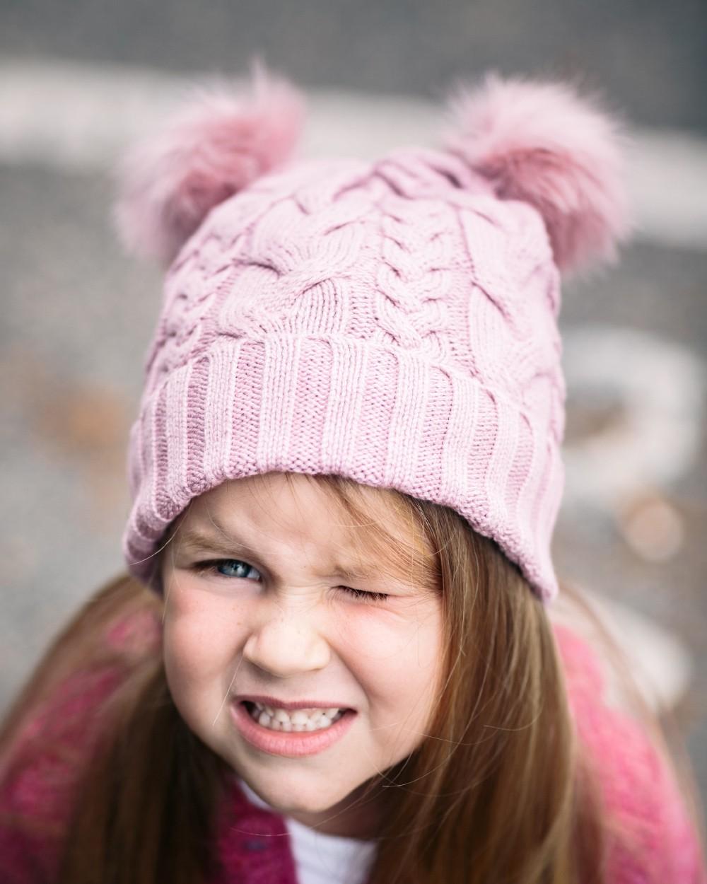 Angel Face Pom Pom Beanie in Rose Pink