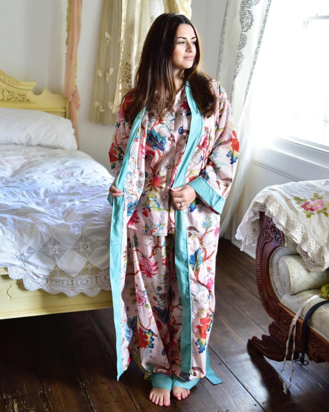 Cotton Pink Floral Dressing Gown
