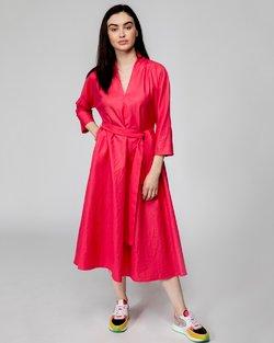Coral V-Neck Dress