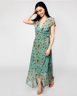 Soft Turquoise Wrap-over Dress