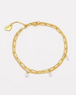 Gold Plated & Cubic Zirconia Double Chain Bracelet