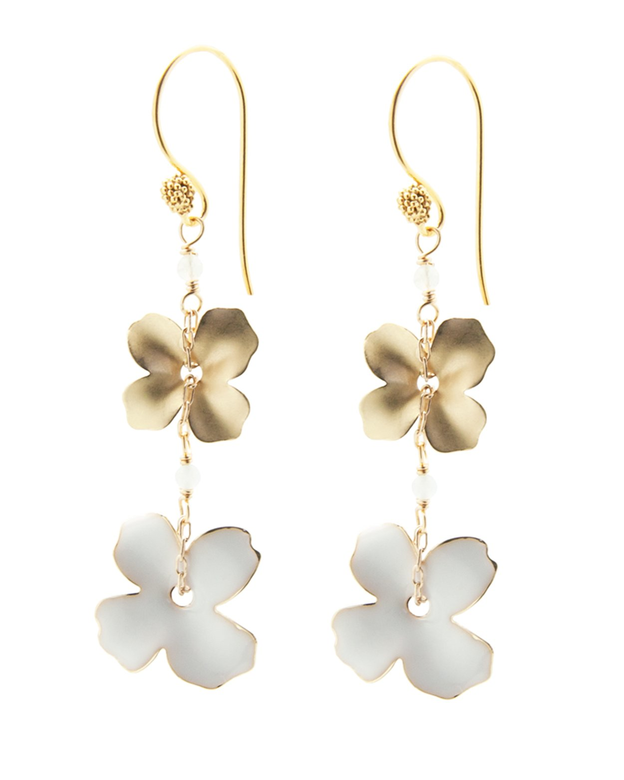 Double Flower Earrings - White