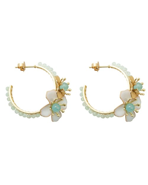 Beaded Flower Hoop Earrings - Aquamarine