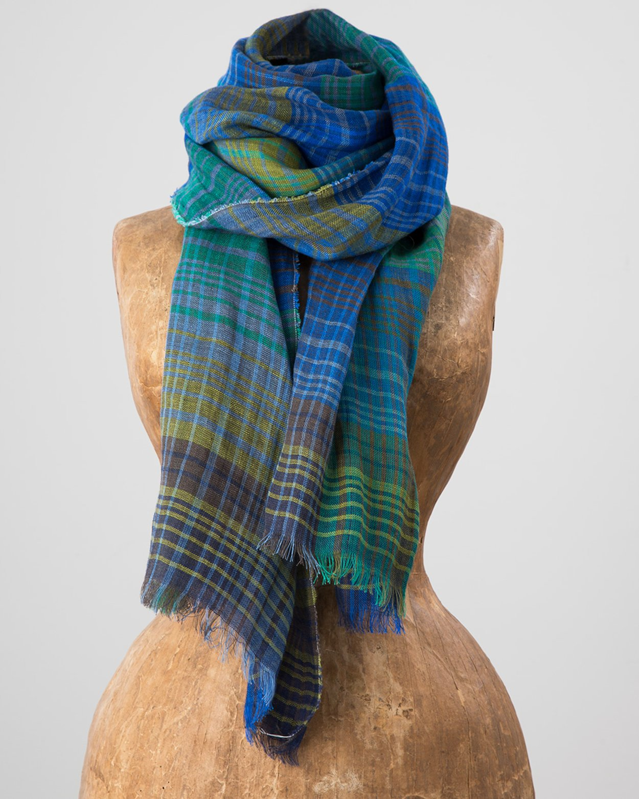 Ombre Check Florence Scarf in Green