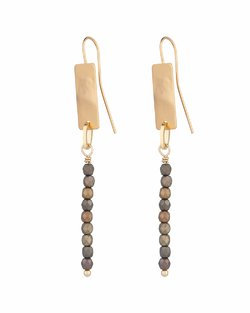 Rectangle Beaded Line Earrings