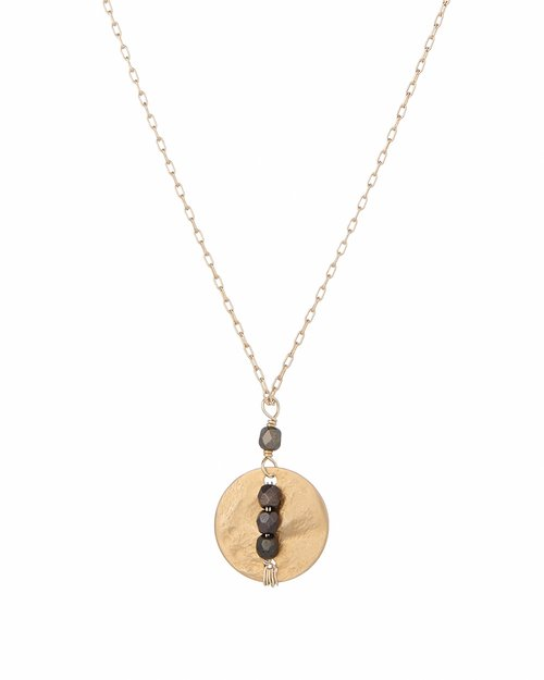 Beaded Line Disc Necklace
