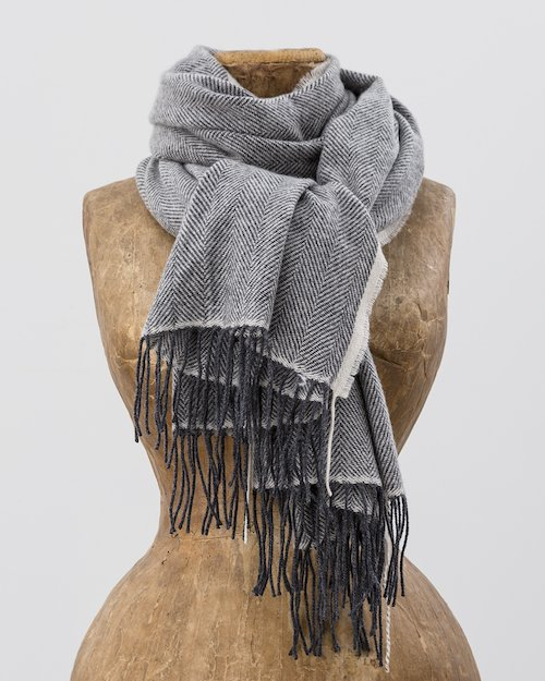 Sandymount Scarf in Grey and Cream
