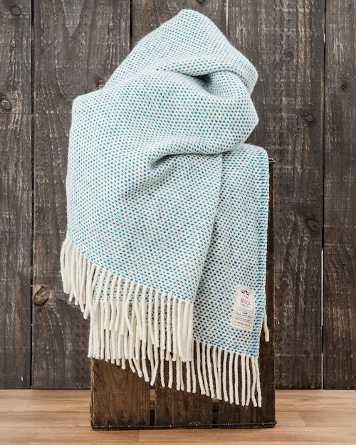Teal Dapple Heavy Donegal Throw