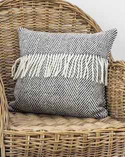 Heavy Herringbone Fringed Cushion Cover