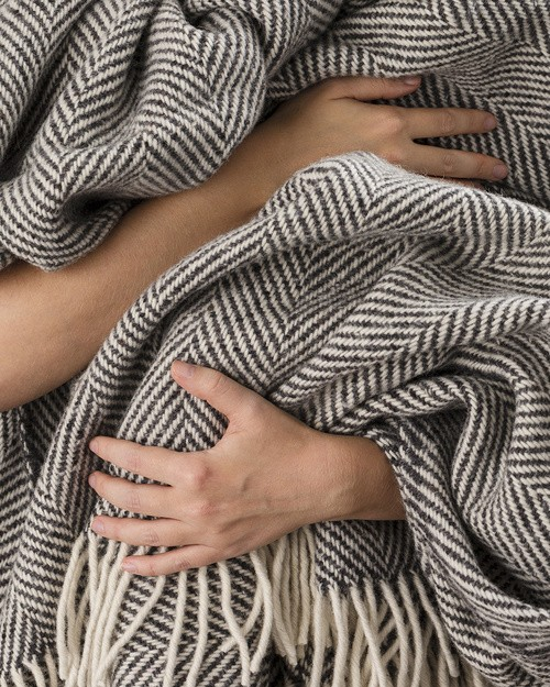Grey Heavy Herringbone Throw