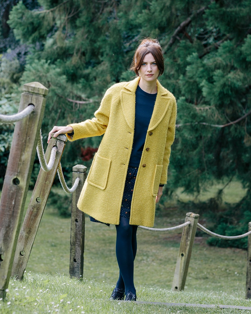 Hills Raglan Coat in Yellow