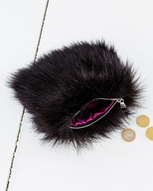 Faux Fur Coin Purse in Ebony