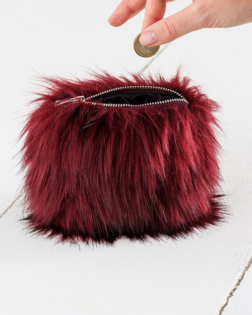 Faux Fur Coin Purse in Burgundy