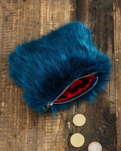Faux Fur Coin Purse in Blue