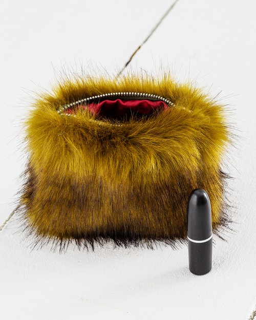 Faux Fur Coin Purse in Olive